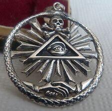 Silber freimaurerische Anhänger  Schädel-Schlange Hände alles sehende Augen