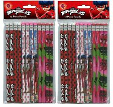 Party Favor Miraculous Ladybug Wood Pencils in Bag with Header 2 Packs Each 12pc
