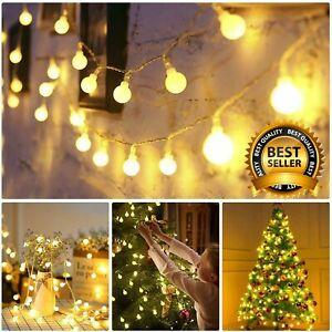 100LED 10M Globe Bulb Ball Fairy String Lights Mains Garden Outdoor Christmas UK