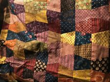 """Vintage Crazy Quilt Fabric Coverlet Top Unfinished Back Very Nice 65"""" x 59"""" Ex+"""