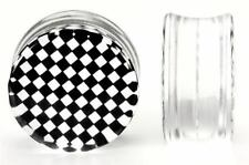 4g up to 26mm CHECKERBOARD Black/White Double Flare Plugs - Price Per 1