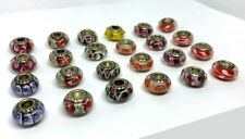 24 Pcs Assorted Big Hole Lampwork Glass Beads Fit Pandor European Bracelet
