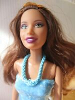 Barbie doll Long Brown Hair Straight Limbs blue velvet dress pink shoes