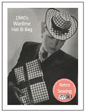 1940s Wartime Hat and Bag Sewing Pattern  - Reproduction Pattern