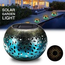 Solar Power Vintage Metal Candle Lantern LED Light Outdoor Garden Landscape Yard