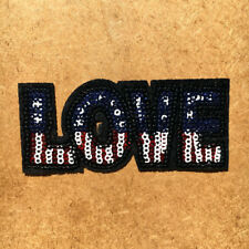 1pc Love USA Stars Stripes Sequin Embroidered Cloth Iron On Patch Applique #1038