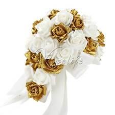 Wedding Bridal Bouquet Glitter Foam Flowers Rose Crystal Party Bridesmaid Decor