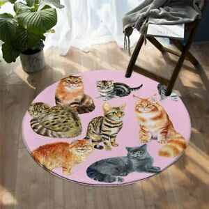 Pink Animal Cat Tabby Ginger Pet Grey Round Rug Carpet Mat Living Room Bedroom