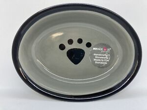 Petrageous Stoneware 1 Cup Oval Pet Bowl Style 44247 ~ Read!