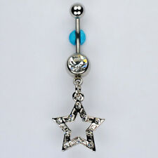Crystal Star April Birthstone Dangle Belly Button Navel Ring Bar Jewelry (A28)