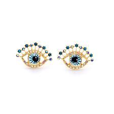 E2189 Modern Everyday Jewelry Gold Tone Navy Blue Eye Inspirational Earrings New