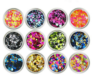 NEW 12 Color Nail Art Sequins UV Gel Colorful Shiny Round Style Decoration 3006