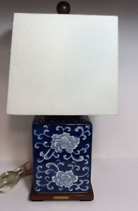RALPH LAUREN Small Table Lamp - Blue and White Porcelain, Wood Base With shade