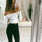 Womens Sexy Off Shoulder Long Sleeve Slim Shirt Crop Tops Casual Sweater Blouse