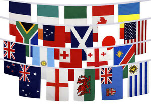 Rugby 20 Country Flags Set Bunting Table Flags Waving Large 5 x 3