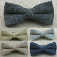 Mens Herringbone Tweed Bowtie Bow Tie Suit Necktie Wedding Formal Business Party