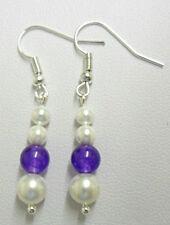 Shell pearls + Purple Quartzite beads dangle earrings