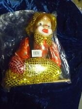 "Clown Marionette Ceramic Head?, Hair, Sequined Costume 21""+- NIP"