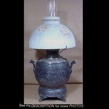 Great 1870s E Miller Aesthetic Silver Plated Kerosene Table Lamp Original Shade