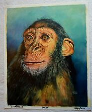 "JORGE BRAUN TARALLO ORIGINAL OIL PAINTING CHIMPANZEE MONKEY 24""X 30"""