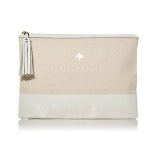 Kate Spade Ash Street Logo Large Tassel Pouch Natural Clutch Purse NEW! $69