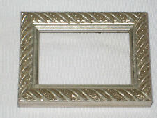Small Wood Picture Frame Silver Swirly Gesso 3 7/8 x 2 7/8 x 3/4 With Glass