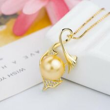 Fish Tail and Pearl Necklace with CZ in Sterling Silver Yellow Gold Plated