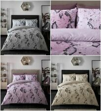 Snake Skin Duvet Quilt Cover & Pillow Case Bedding Set Grey Pink Natural