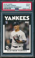 2018 Topps Throwback Thursday Gleyber Torres RC SP #204 PSA 9 Mint Rookie NYY