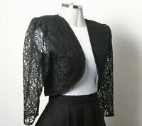 VINTAGE PRINCIPLES Ladies Black Lace Short Shrug Style Evening Jacket UK Size 10