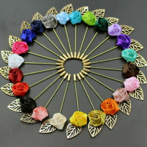 Wedding Flower Gold Leaf Corsage Women Lapel Pin Brooch Suits Collars Stick Pins