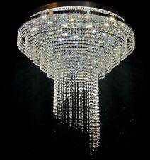 LED Lead Premium Crystal Flush Chandelier Chrome Ceiling Light Lighting Spiral80