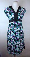 Monsoon Ladies Empire Line Daisy Floral Floaty Fit & Flare Tea Dress UK 12