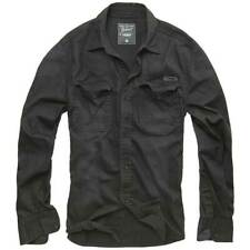 Brandit Hardee Denim Shirt Mens Long Sleeve Vintage Bleached Security Top Black