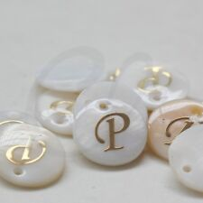 2 Pieces Natural Shell with Gold Alphabet Charm-Letter P-Round 15mm (D-436)