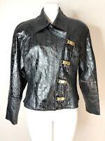 Lillie Rubin Vintage 80's Womens 6 Black 100% Leather Strong Shoulder Jacket
