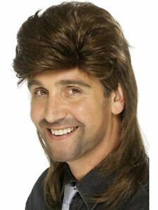 Smiffys Mens Mullet Wig 80s Retro Costume Hair Brown
