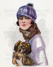 Glamour girl Pekingese dog Sergio Bompard Art Nouveau fashion repro print CHOICE