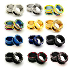 Pair Steel Screw On Tunnels CZ plugs gauges Choose Size Color