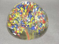 Solid Clear Glass Paperweight Yellow Blue & White Design 2.4 inch diameter