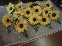 wedding sunflower buttonhole x 1 corsages with secure fastening shabby chic
