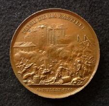 Médaille cuivre Prise Bastille 14 Juillet Donjon De Vincenne Rogat 1844 boitier