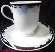CARAVEL BY EXCEL FLORAL BLACK BORDER FOOTED CUP & SAUCER SET RTL $7.99 SPC290