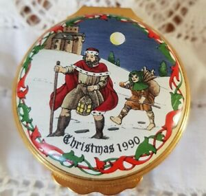 Halycon Days Enamel Box Christmas 1990 Good King Wenceslas