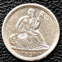 1837 Seated Liberty Half Dime 5c High Grade AU - UNC Det. #20341