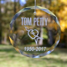 Handmade Etched Tom Petty Ornament / Suncatcher - Donation Sale