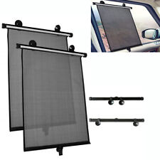 DIY 2x Foldable Car Side Window Sun Shade Shield Cover Retractable Roll Curtain