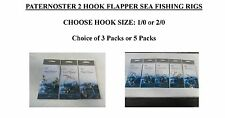 PATERNOSTER 2 HOOK FLAPPER SEA FISHING RIGS SIZE 2/0 or 1/0 Qtys 3 or 5 Packs