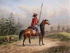 Auguste Sébastien BENARD 1810-1873 Lancier à cheval Dessin Soldat