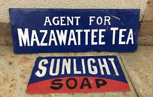 2 Enamel Signs SUNLIGHT SOAP & MAZAWATTEE TEA